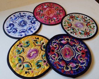 5 Chinese embroidered coasters