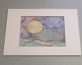 """Alcohol Ink Abstract Painting Original """"Full Moon"""""""