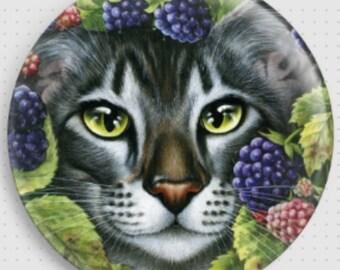 Tortoise Shell Cat Needle Minder, 'Blackberry', Irina Garmashova-Cawton, Cross Stitch Keeper, Kitten Fridge Magnet, Cross Stitch Accessory,
