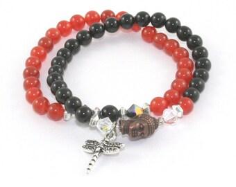 Gemstone Budhha Bracelet Set, 2 Stretch Bracelets, Carnelian & Black Onyx