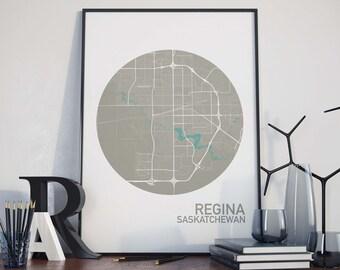 Regina, Saskatchewan City Map Print
