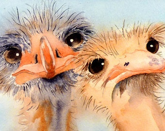 Fun animal Prints, Funny Bird Illustrations, Ostrich Art, bird wall art, Coral watercolor, Ostrich painting, Nursery, Sale, Laberge