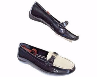 Ralph Lauren Size 7.5 Med Blue & White Patent Leather Loafer