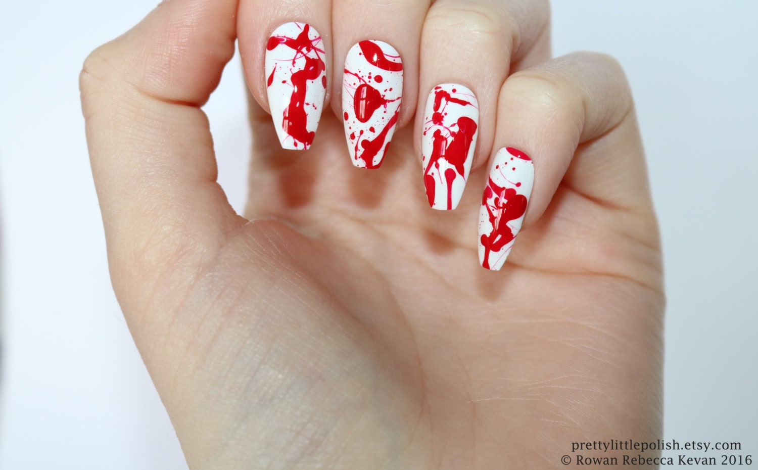 Blood splatter coffin nails, Halloween nails, Fake nail, Stiletto ...