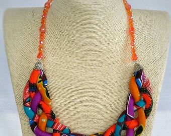 African Jewelry, African Fabric Necklace, African Print Necklace, African Inspired fashion, Ankara Necklace with Crystal Beads, Ethnic Piece