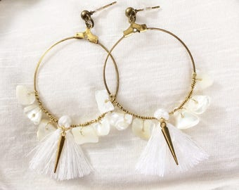 Earrings hoops with pretty white shell beads white PomPoms