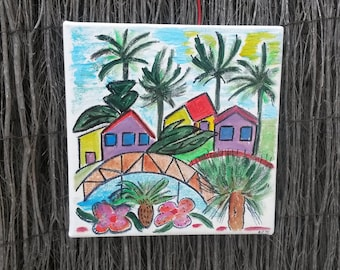 painting landscape naive Islands fuchia
