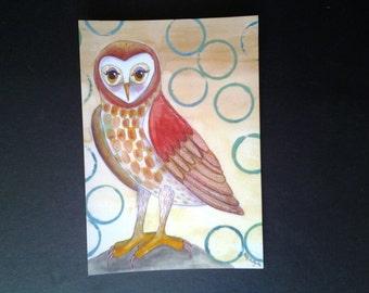Barn Owl print, mixed media painting print, 5x7, owl print