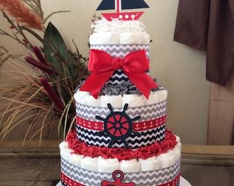 Nautical diaper cake/baby shower centerpiece/Boy baby shower centerpiece/Boy diaper cake/Navy, red and white baby shower centerpiece