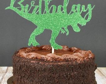 Green Dinosaur Birthday Glitter Cake Topper
