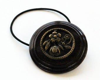 Decorative Hair Accessory, Dark Brown Vintage Plastic Button Restyled as Elastic Ponytail Holder,  Pretty Flower Design