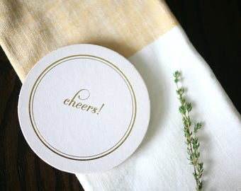 Foil Stamped Coasters - Cheers paper party coasters - Gold foil coasters