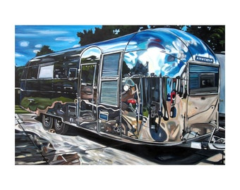 """CANVAS PRINT Airstream Overlander 1950s Painting 12x8"""", 18x12"""", 24x16"""", 30x20"""", 36x24"""", 42x28"""", or 48x32"""""""