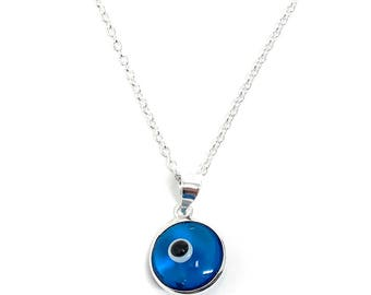 Evil Eye Necklace Mini Nazar Dainty Lucky Turkish Delicate Charm Sterling Silver Amulet Pendant Greek Eye Protection Jewelry Gifts for her