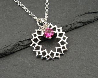 Chakra Gemstone Necklace - Crown Chakra pendant, 925 sterling silver, hindu, chakra jewelry, 12 colors