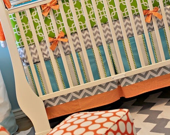 Crib Skirt with 2 Bottom Bands - Custom Baby Bedding Orange aqua Lime