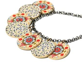 Moroccan Charm Necklace Charm Necklace Moroccan Necklace Moroccan Print Rhinestone Necklace Colorful Necklace  Shrink Plastic Floral