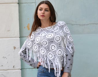 White Knit Poncho, Hand Knit Poncho, Lace bridal wrap, coverup sweater, spring summer wrap, cotton summer poncho, Beach clothes