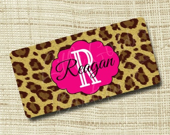 Monogram License Plate, License Plate Frame, Personalized License Plate, Leopard, Shocking Pink