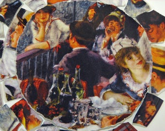 """Mosaic China Tiles and Focal Renoir """"Luncheon of Boating Parties"""" Impressionist Artist People Faces Tessarae"""