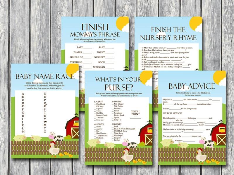 Farm animals Baby Shower Games Printables Gender neutral