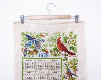 Vintage 1978 Linen Tea Towel with Birds
