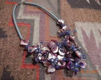 Luscious Lavender/Purple/Pink Shell & Periwinkle Blue Swarovski Crystal Necklace