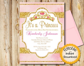 "Princess Baby Shower Invitation, Girl, Pink and Gold, INSTANT download, EDITABLE in Adobe Reader, DIY, Printable, 5""x7"""