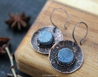 Copper earrings Wire wrapped earrings Circle earrings Wire wrapped jewelry Coral earrings Gift for her Handmade earrings  Wirewrap earrings