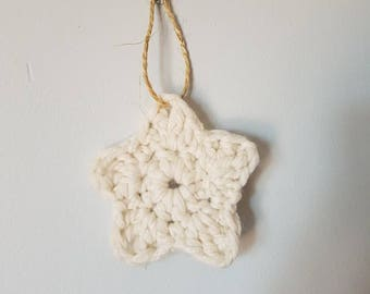 Cream chunky star hanging or Christmas tree decoration
