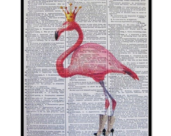 "Pink Flamingo "" Her Style"" Pink Flamingo Print Size 8x10 Vintage Dictionary Page Art Print, Flamingo Decor Flamingo Home Decor, Pink Decor"