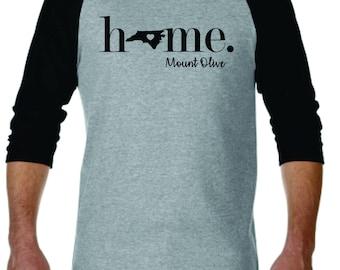 Raglan Baseball Tee 3/4 Sleeve Home State City Custom Shirt