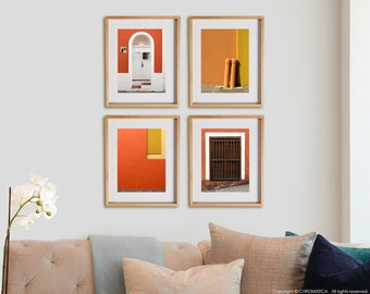 Orange 4V Print Collection.  Architectural photography, urban details, decor, wall art, artwork, large format photo.
