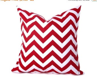 15% Off Sale Red Pillow,Decorative pillow, Euro Pillow Cover  Red pillow covers - Cushion covers Red and White - Pillow Sham - Chevron - Cou