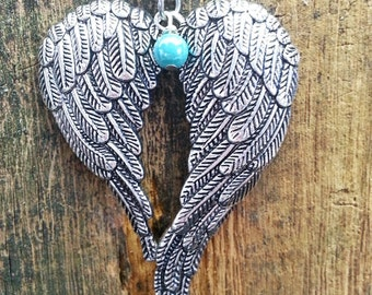 Angel Wings necklace, teal pearl, silver jewelry pendant, sterling chain,free shipping and gift  box