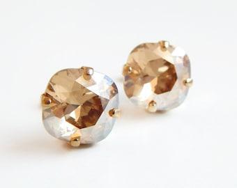 Gold crystal stud earrings - square stud earrings - Swarovski crystal - crystal earrings - crystal studs