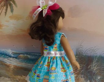 """18"""" Doll Dress Happy Birthday Medley OOAK with Giant Hair Bow and Lace Accents"""
