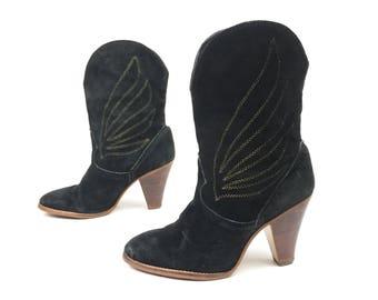 Vintage 70's 9 West Suede Western Boots Black w/ Gold Stitching 6.5