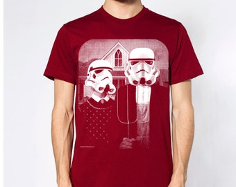 star wars American Gothic parody on mens t shirt- american apparel cranberry, available in S,M, L ,XL, 2XL,  worldwide shipping