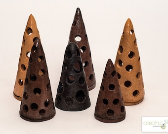 Cone, handmade ceramic, candlestick