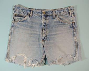 "34"" High Waist Unisex Cut Off Jeans Distress Faded Frayed Work Blue Denim Retro Riveted Jean Daisy Dukes Short Shorts 1990s Fashion Bohemian"