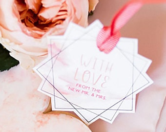 With Love Wedding Tag, Favor Tag, Wedding Gift Tag, Wedding Favor, Wedding Tags,  Pink Tag, Wedding Decor, Mr. and Mrs. Tag Mr Mrs
