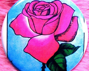 Pocket Mirror - Loteria - La Rosa - Rose - Mexicana OOAK