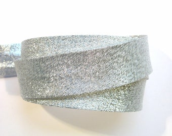 Metallic silver bias binding, silver bias tape, festive bias tape, metallic bias tape, sewing supplies, dressmaking costume supplies UK shop