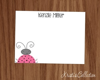 Personalized Ladybug Note Card Set - Girls Personal Stationery Stationary - Girl Teen Mom Gifts Flat Notecards