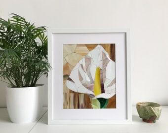 Calla lily picture Mosaic floral art Framed picture Flowers mothers Stained glass Flowers for mom Mother birthday special gift Plant mum