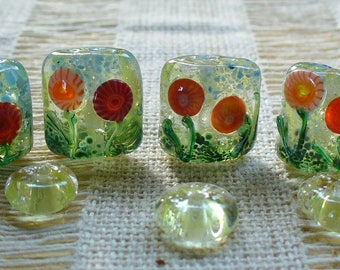 Lampwork SRA Handmade Glass Beads by Catalinaglass Flower Garden