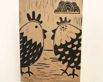 2 Happy Chickens greetings card for Easter, Birthdays or other occasion