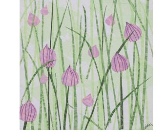 "Chives. Layered paper collage with hand-stamped paper. 6"" x 6"" x .75"" canvas. Wall art. Home Decoration. Small format art."