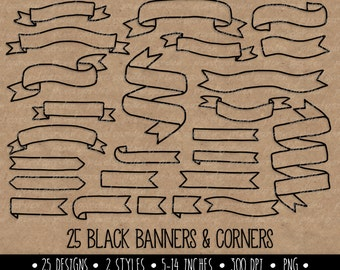 Hand Drawn Banners Clip Art. Doodle Ribbon Banners. White Banners & Corners Clip Art. Digital Banner Outlines. Black Banner Frames Clipart.